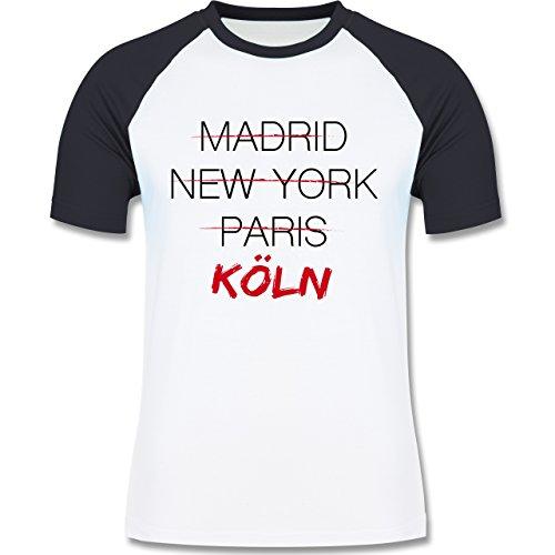 Shirtracer Städte - Weltstadt Köln - Herren Baseball Shirt Weiß/Navy Blau