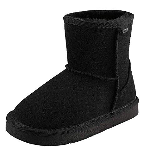 ZEARO Bottes de Neige Chaudes Et Souples Pour Enfants Garcon Fille en Hiver Chaussures Fourrure Snow Boots Noir