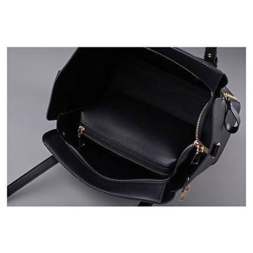 2 Stk PU Leder Handtasche Geeignet für Frauen mittleren Alters Handtasche Schultertasche Mutter Tasche Handtasche und Brieftasche Kombination hoher Kapazität Damen Tasche Messenger Bag, schwarz Schwarz