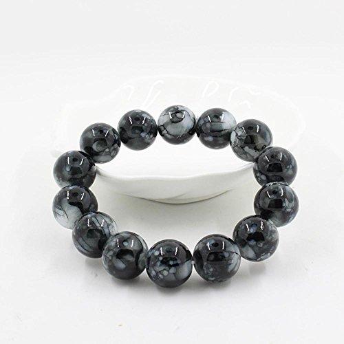 Jingmei moda agata naturale braccialetto di perle perline multicolore, Black