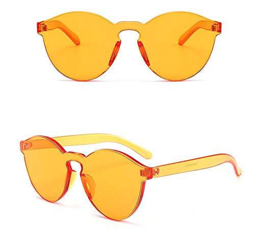 WSKPE Sonnenbrille Runde Sonnenbrille Candy Farblinsen Randlose Sonnenbrille Orange