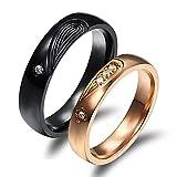 Daesar Damen Ringe Herren Ringe Edelstahl Ringe Paar Ringe Puzzle Herz Zirkonia Schwarz Rosegold Eherringe Freundschaftsringe für 2 Damen Gr.57 (18.1) + Herren Gr.62 (19.7)