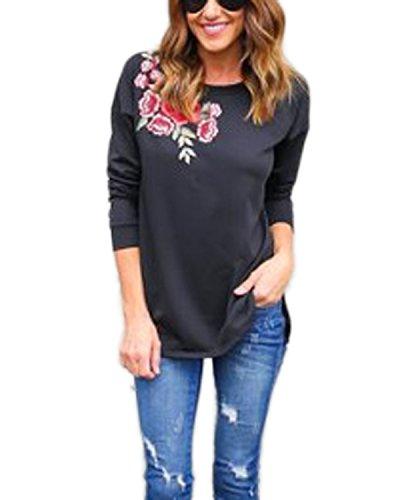 Auxo Damen Blumen Langarm Oversize Party T-Shirt Sweatshirt Tunika Oberteile Tops Schwarz EU 42/Etikettgröße L (Blumen-shirt)