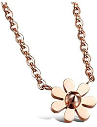 Asma Rose Gold Plated Titanium Steel Daisy Flower Pendant Necklace For Women