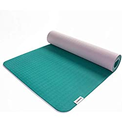 Viavito Unisex's Ayama 6mm TPE Yoga Mat with Carry Strap, Green/Blush, 183 x 61 x 0.6 cm