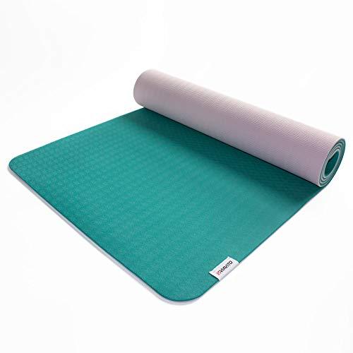 Viavito Unisex's Ayama 6mm TPE Yoga Mat with Carry Strap, Green/Blush, 183 x 61 x 0.6 cm