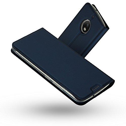 Radoo Moto G5S Hülle, Premium PU Leder Handyhülle Brieftasche-Stil Magnetisch Klapphülle Etui Brieftasche Hülle Schutzhülle Tasche für Motorola Lenovo Moto G5S (2017) (Blau)
