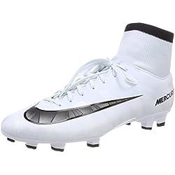 Nike Mercurial Victory VI Cr7 DF FG, Scarpe da Calcio Uomo, Bianco (Blau Tint/Schwarz-Weiß-Blau Tint), 43 EU