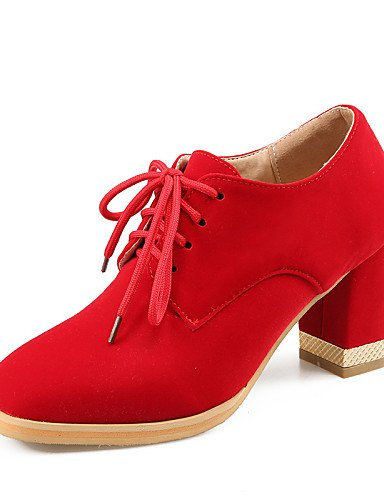 ZQ hug Scarpe Donna-Scarpe col tacco-Ufficio e lavoro / Formale / Casual-Tacchi / Punta arrotondata-Quadrato-Finta pelle-Nero / Blu / Rosso , red-us10.5 / eu42 / uk8.5 / cn43 , red-us10.5 / eu42 / uk8 blue-us10.5 / eu42 / uk8.5 / cn43