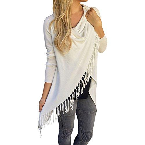Damen Quaste Loose Pullover Blusen Casual Sweatshirts Strickjacke Asymetrisch Outwear Oberteile Frauen