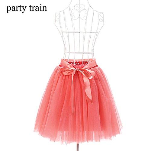 Honeystore Damen's Rock Tutu Tütü Petticoat Tüllrock 7 Schichten mit Gummizug für Karneval, Party und Hochzeit Wassermelone