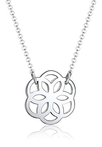 Elli Damen Halskette Ornament Blumen Anhänger Cut Out in 925 Sterling Silber, 45 cm Länge
