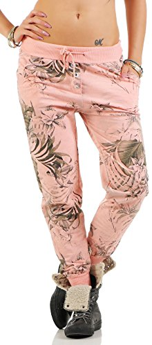 Malito Damen Jogginghose mit Jungle Print | Sporthose mit Muster | Baggy zum Tanzen | Sweatpants - Trainingshose 83728 (rosa)