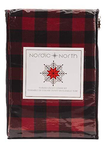 Nordic North Bettwäsche-Set für King-Size-Bett, 3-teilig, Buffalo Plaid Flanell, türkische Baumwolle, Lodge Cabin, Schwarz/Rot kariert (Rot Bettwäsche Set King)