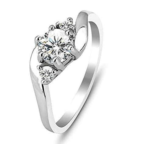 925 Sterling Silver Ring, Women's Wedding Bands 3 Stone CZ Cubic Zirconia Halo Size N 1/2 Epinki