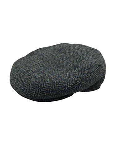 Harris Tweed Herren Schirmmütze Gr. 55 cm, Grau / Fischgrätmuster