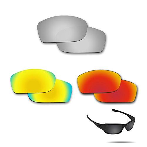 fiskr anti-saltwater Polarisierte Ersatz Gläser für Oakley Fives Squared 3Paar Pack, Metallic Silver & Fire Red & 24K Gold