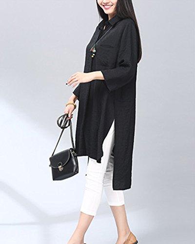 Donna Blusa Tinta Unita Maniche Lunghe Sciolto Shirt Elegante Abito da Camicia Nero