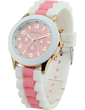 Silikon Band Jelly Gel Quarz Armbanduhr Pink