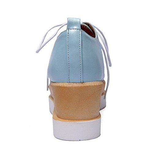 VogueZone009 Donna Allacciare Tacco Medio Luccichio Colore Assortito Punta Quedrata Punta Chiusa Ballerine Azzurro