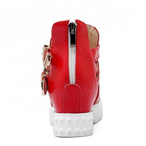 AllhqFashion Damen Reißverschluss Mittler Absatz Pu Leder Rein Rund Zehe Pumps Schuhe Rot