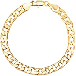 Shining Jewel 24K 8 inches Gold Plated Imported Quality Cuban Style Link Bracelet for Men & Women (SJ_3054)