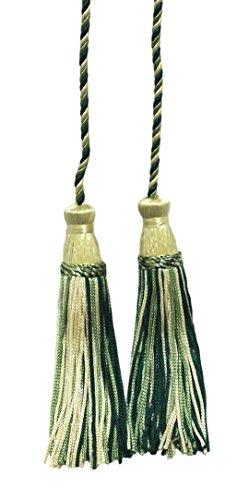 Forest Green, lumière, blé, Vert olive double Tassel/pompon Cravate avec 10,2 cm inch Pompon/propagation 73,7 cm Style # Cdct Couleur : Winter Forest – 20