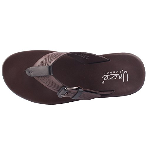 Unzè Unze Uomo Pelle 'Salomone' Flip Flop Slip On Aperte Davanti Thong Beach Summer Festival Piatto Pantofole UK Size 7-11 Marrone