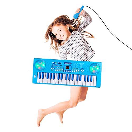Shayson Klavier für Kinder, 37 Key Multifunktions-Keyboard Klavier Spielen Klavier Orgel mit Mikrofon pädagogisches Spielzeug für Kleinkinder Kinder Kinder (Blau)