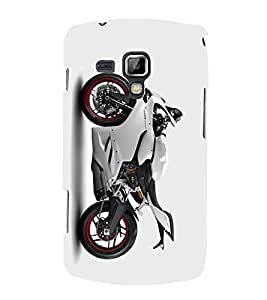 HiFi Designer Phone Back Case Cover Samsung Galaxy S Duos S7562 ( Super Bike Super Craze White Bike Peral White )