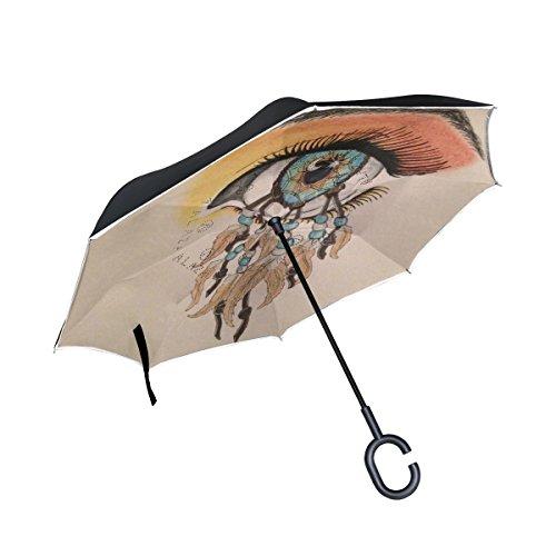 jstel doble capa invertida Atrapasueños ojo paraguas coches Reverse resistente al viento lluvia paraguas para coche al aire libre con asa en forma de C