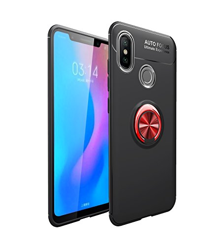 Funda Xiaomi Mi A2 Teléfono Móvil Silicona Bumper Case Funda con Anillo Giratorio de 360 Grados Rotaria Ring Holder Protectora Caso (2, Xiaomi Mi A2)