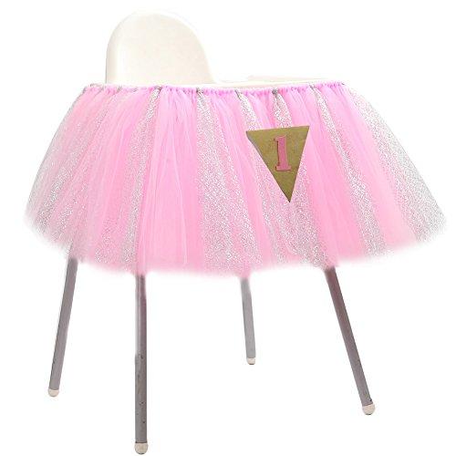 Lanlan 91,4x 35,6cm 1. Geburtstag Hochstuhl Tüll Tisch Rock mit 1Triangle Flagge ideal für Baby Geburtstag Party ()