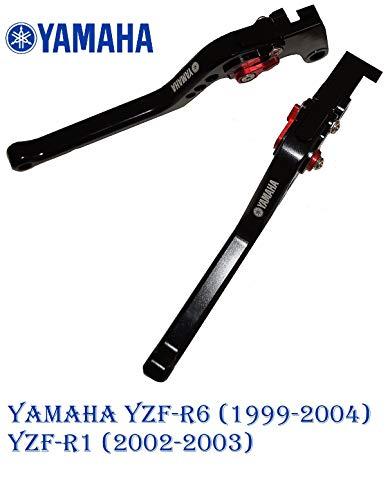 Motorrad Kupplung Bremshebel verstellbar für Yamaha YZF-R6 (1999-2004) YZF-R1 (2002-2003) largo Schwarz
