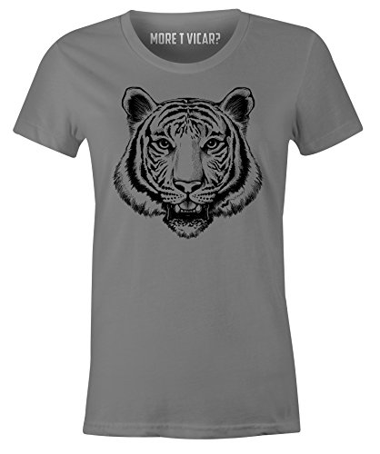 Tiger Face - Ladies Endangered Animal T Shirt Kohlengrau