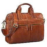 STILORD 'Leandro' Ledertasche Herren Laptoptasche 15.6 Zoll braune Messenger Bag multifunktional tragbar als Handtasche Umhängetasche Trolley Aufsatz Vintage Leder, Farbe:Cognac - glänzend