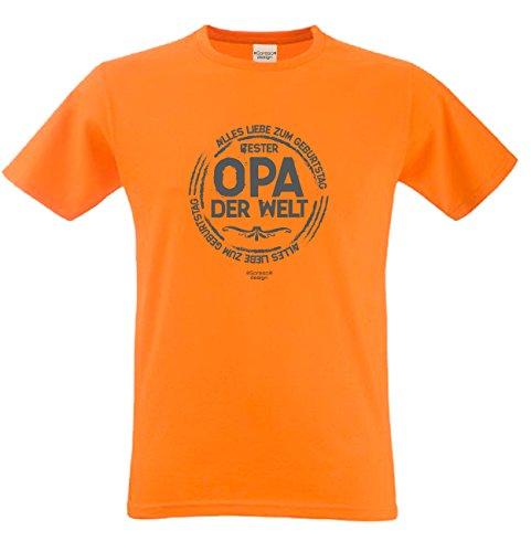 Herren Fun T-Shirt als witziges Weihnachtsgeschenk Bester Opa der Welt für Ihren Großvater auch in Übergrößen 3XL 4XL 5XL Farbe: orange Orange