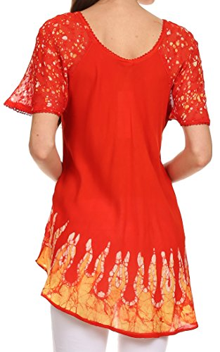 Sakkas Cora – camicetta/top larga a stampa batik con maniche e ricami Sunset Orange