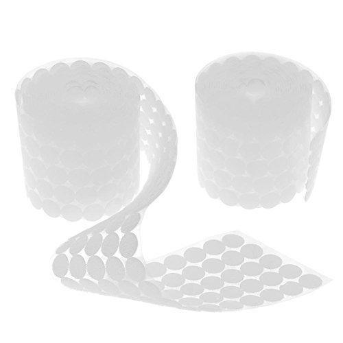 Mikolot 500 paires adhésif double face ruban de fermeture Crochets passants Disques Blanc, 20 mm