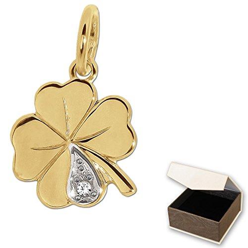clever-schmuck-goldener-kleiner-anhanger-10-mm-4-blattriges-mini-kleeblatt-bicolor-mit-einem-diamant