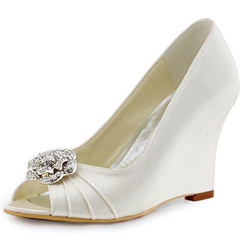 Elegantpark Wp1547 Femme Danse Wedge Af01 Amovible Clip Chaussures Strass Satin Chaussures De Mariage Blanc
