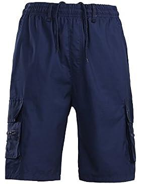 Juleya Hombre Verano Cargo Shorts Casual Trabajo Al Aire Libre Chino Pantalones Cortos Llanura Cintura Elástica...