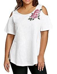 Amlaiworld Camisetas Mujer Verano Blusa Mujer Elegante Camisetas Mujer Manga Corta Algodón Camiseta Mujer Camisetas Mujer Fiesta…