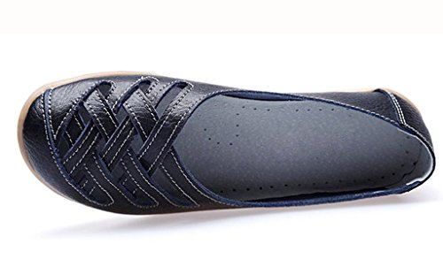 IFashion Damen Casual Mokassin Bootsschuhe Leder Loafers Slipper Flats Chuhe Low-top Lederschuhe Erbsens Chuhe Schwarz