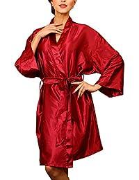 436667c7bc21d4 Dolamen Unisex Damen Herren Morgenmantel Kimono, Satin Nachtwäsche  Bademantel Robe Kimono Negligee Seidenrobe Locker Schlafanzug