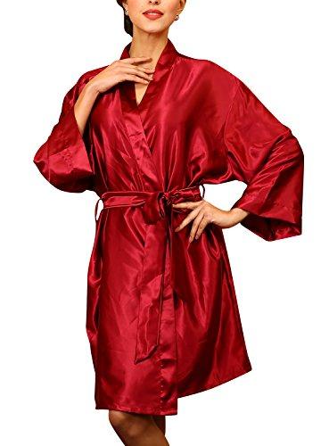 Dolamen Unisex Damen Herren Morgenmantel Kimono, Satin Nachtwäsche Bademantel Robe Kimono Negligee Seidenrobe locker Schlafanzug, Büste 132cm, 51,97 Zoll, große Größe für alle (Rot) -