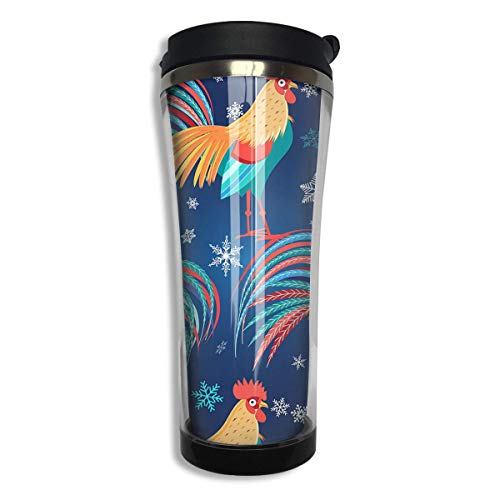 Stainless Steel Travel Mug Colorful Roosters Coffee Cup Tumbler with Lid 14.3 Oz