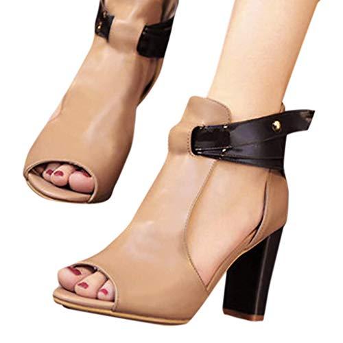 HILOTU Sexy Dicker Damen High Heel Mode Atmungsaktiv Einfarbig rutschfeste Offene Zehen Sandalen Spring Summer Knöchelriemen Cut Hollow Zip Boots (Color : Khaki, Size : 43 EU) (Junioren Khaki)