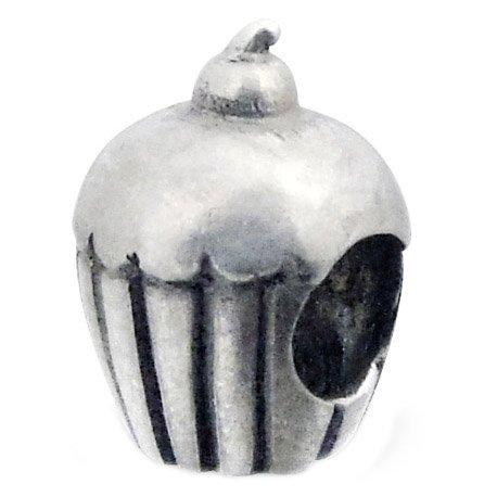 So Chic Gioielli - Charm Cupcake Ciliegia Dolce Dessert Argento Sterling 925/000 - Compatible con Pandora, Trollbeads, Chamilia, Biagi