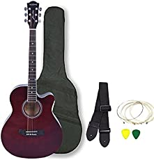 Kadence Frontier Series Acoustic Guitar With Truss Rod, Brown, Combo With Bag, 1 Pack Strings, Strap And Picks